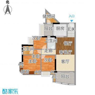 美林轩逸时光99.79㎡A8号楼2-13层02单元3室户型