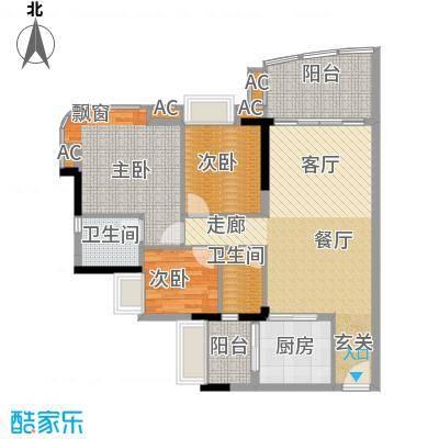 美林轩逸时光95.83㎡A6号楼2-13层04单元3室户型