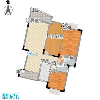 翰林国际136.19㎡2号楼01单元2室户型