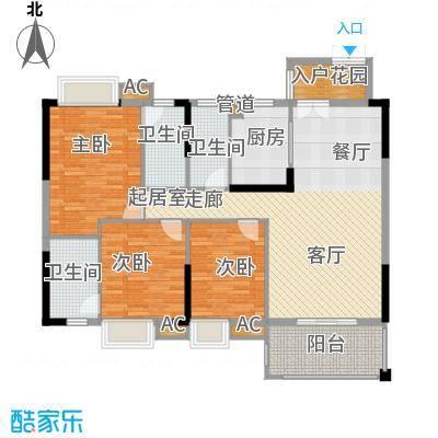 中恒公园大地花园128.15㎡4号、5号、6号、7号、8号、9号楼标准层A、D户型