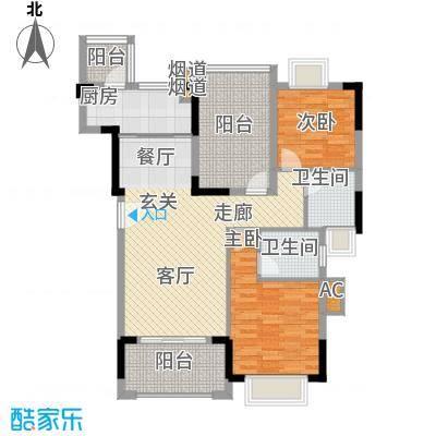 翰林国际96.54㎡7号楼01单元2室户型