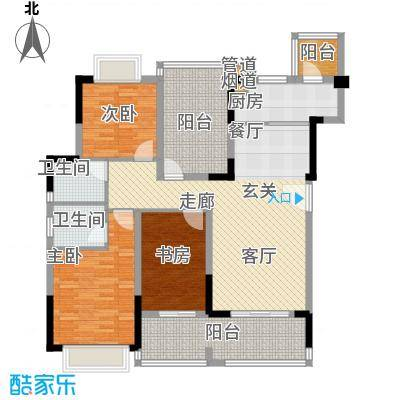 翰林国际120.48㎡7号楼02单元2室户型
