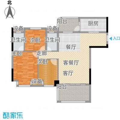 景源公园一号119.00㎡2号楼2单元C/D3室户型