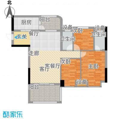 景源公园一号132.00㎡2号楼2单元3室户型