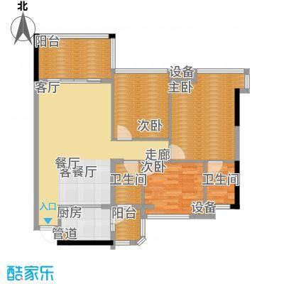 景源公园一号121.58㎡一号楼2单元C/D3室户型