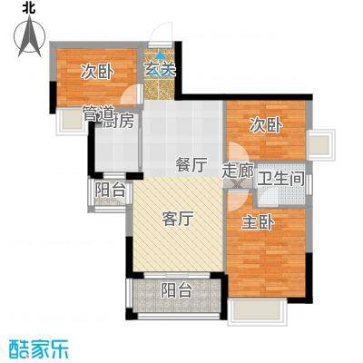 富盈四季华庭86.00㎡1-2、11-12栋标准层A3户型