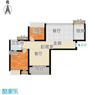 保利花园95.00㎡3#楼A6(售面积9500m户型