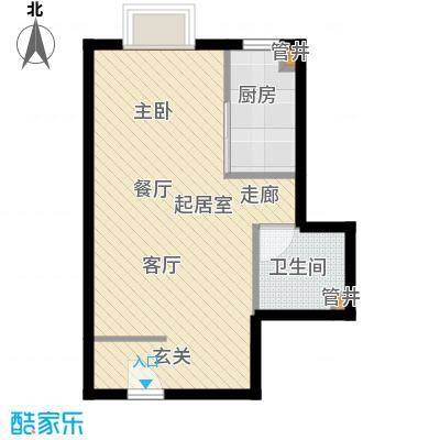 万达广场44.00㎡A1居室面积4400m户型