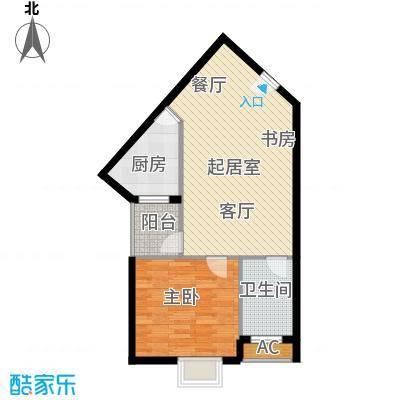 万达广场63.00㎡D1居室1面积6300m户型