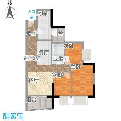 英豪花园89.04㎡A3栋09单元3室面积8904m户型