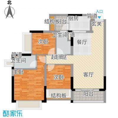 锦尚蓬莱苑106.00㎡6号楼1单元023室户型
