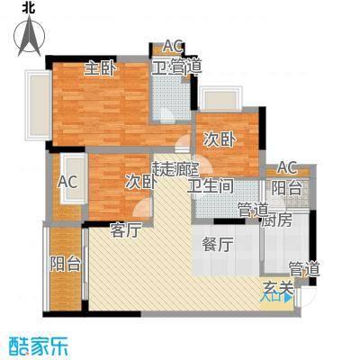 锦尚蓬莱苑103.60㎡7号楼02~18层2单元023室户型