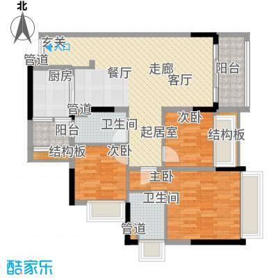 锦尚蓬莱苑106.80㎡6号楼02~24层2单元023室户型