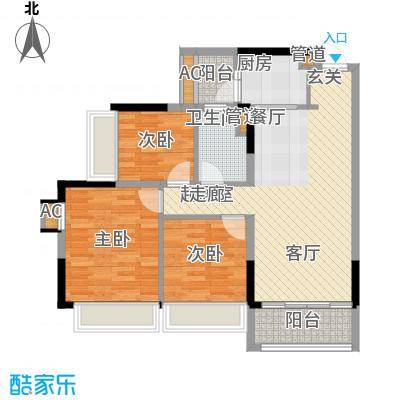 锦尚蓬莱苑92.00㎡7号楼1单元023室户型
