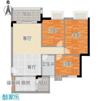 广州新塘新世界花园88.22㎡25栋1-6层01单元3室户型