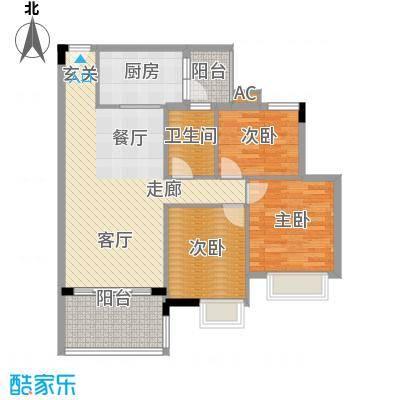 广州新塘新世界花园91.37㎡30栋1-6层02单元3室户型