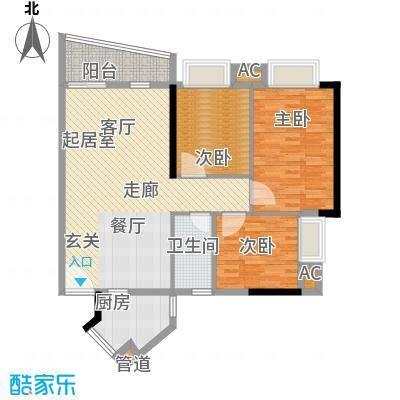 金碧新城88.81㎡40楼2-23层F3面积8881m户型