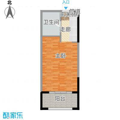 雅居乐云南原乡51.56㎡A6单套间户型