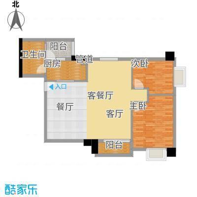 橡树园89.81㎡D2栋06单元2室面积8981m户型