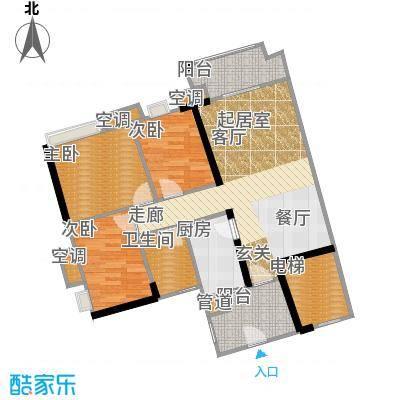 珠江嘉园90.00㎡10栋B梯05单元3室户型