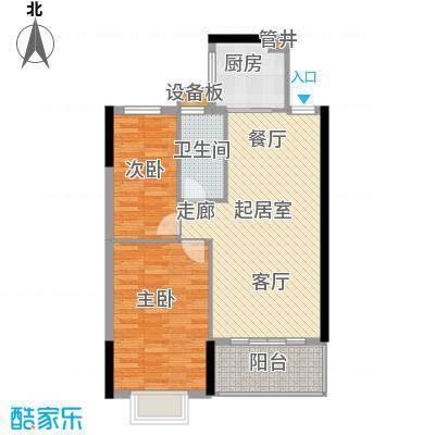 惠百氏广场73.92㎡12栋6单元01单位2室户型