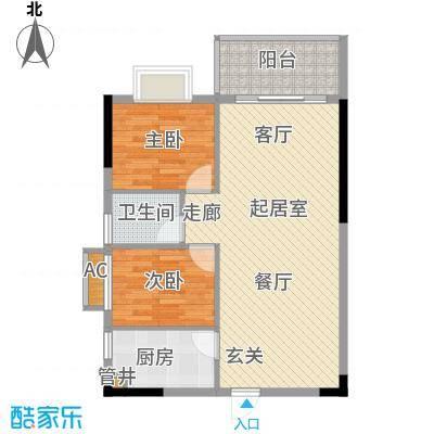 惠百氏广场69.38㎡12栋6单元07单位2室户型