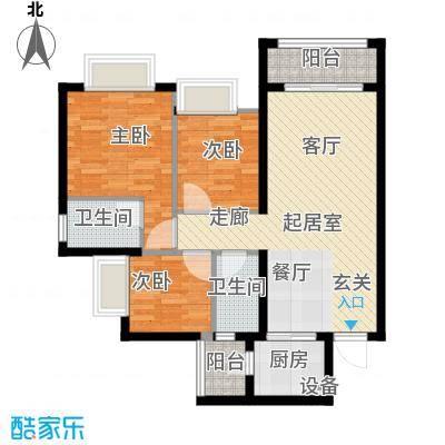 金龙居97.70㎡4-6栋2-16标准层01单元3室户型