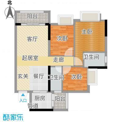 金龙居97.70㎡4-6栋2-16标准层02单元3室户型