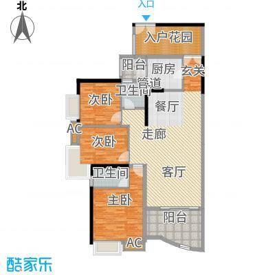 宏诚海岸142.00㎡宏景轩2栋03单元3室户型
