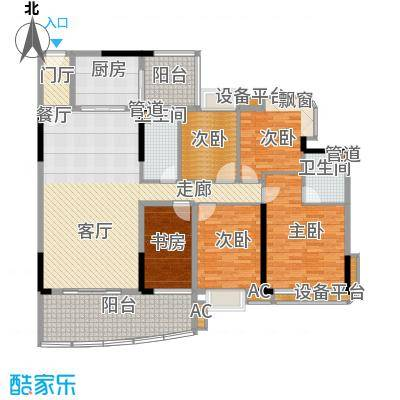 美林轩逸时光158.23㎡B1号楼01单元5室户型