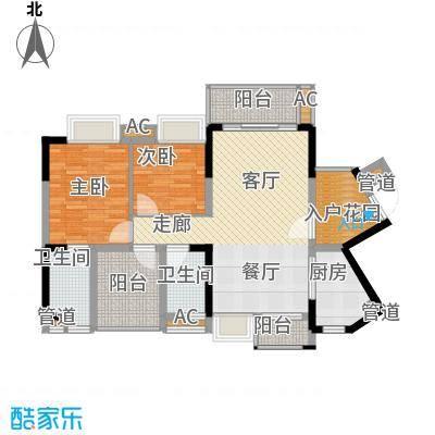 星河盛世105.98㎡一期1B栋04单元2室户型