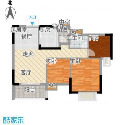 中恒公园大地花园89.18㎡1号楼标准层B、C单位户型
