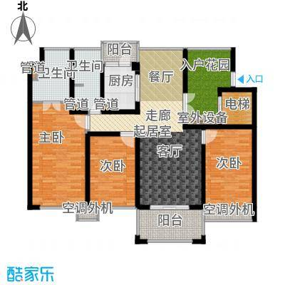 中梁香缇118.00㎡高层标准层F面积11800m户型