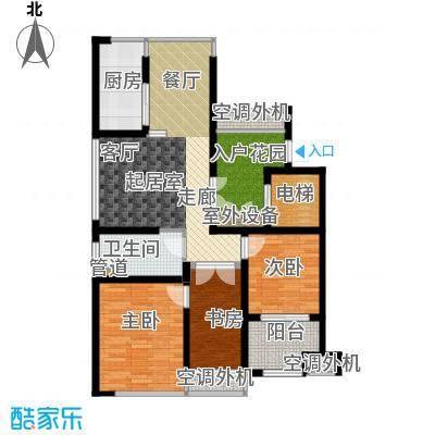 中梁香缇87.00㎡高层标准层K面积8700m户型