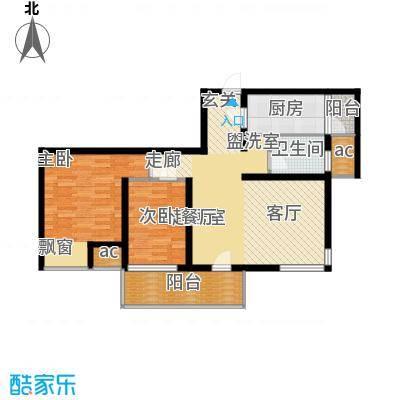 亿城左岸香颂88.00㎡2#、3#标准面积8800m户型