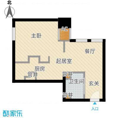 御湖国际43.00㎡一期B楼标准层B面积4300m户型