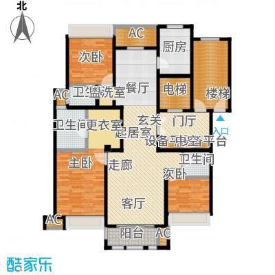 华润置地橡树湾145.00㎡LUX公寓22#小高层标准层E户型