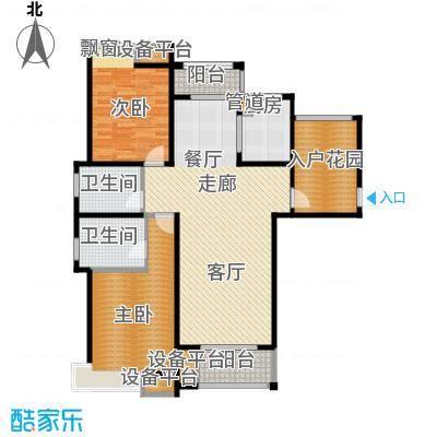 红鼎湾花园120.00㎡高层8#、9#楼标准层E户型