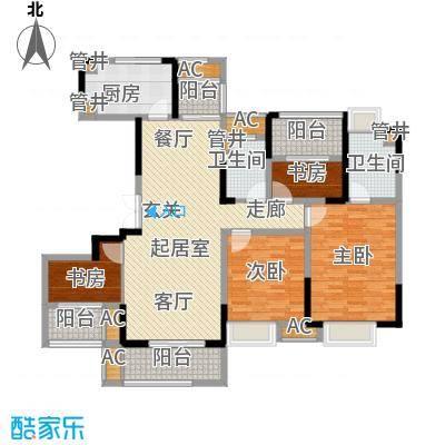 世茂石湖湾140.00㎡高层266-271栋标准层B2户型