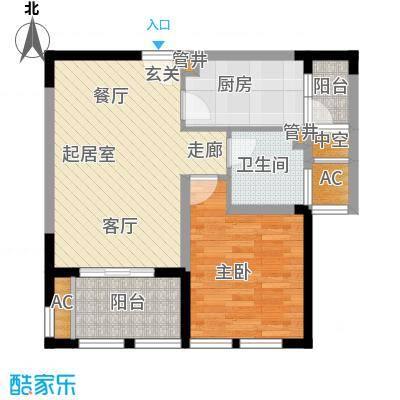 中天和景苑61.00㎡一期5#、6#楼标准层A1户型