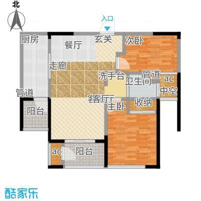 北极星花园89.00㎡2#楼标准层A2户型