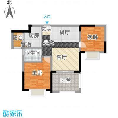 顺德碧桂园77.22㎡喜居组团19座3层304户型