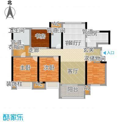 星光耀广场140.00㎡高层2#、3#等标准层D户型