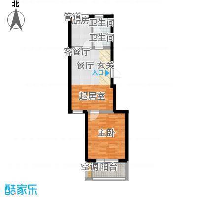 龙湖文馨苑60.77㎡B3面积6077m户型