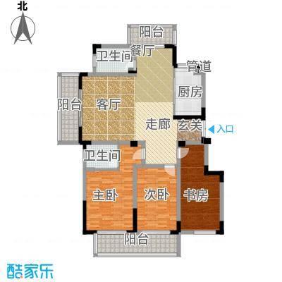 金王府134.88㎡54、58幢标准层B户面积13488m户型