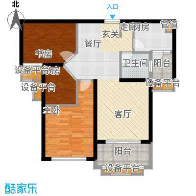 盈嘉香榴湾81.83㎡08幢标准层J户面积8183m户型