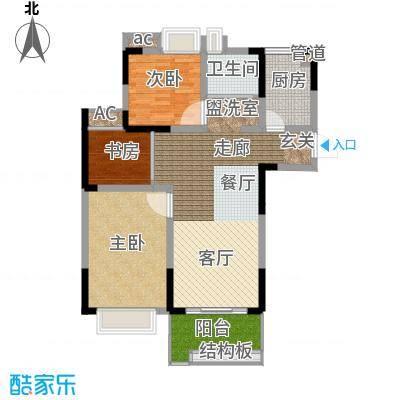 上城风景96.42㎡一期16、18号楼面积9642m户型