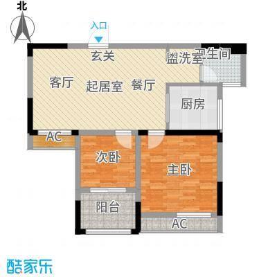 骋望怡峰花园80.00㎡一期7、8号楼标准层B户型