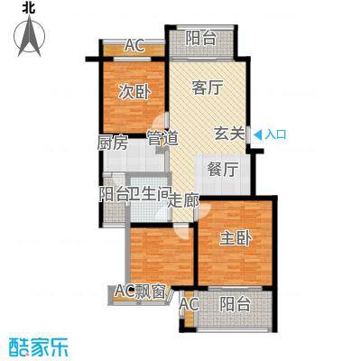 凯阳花园100.00㎡二期6、11、12幢标准层C户型