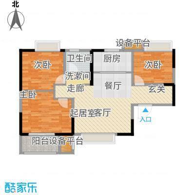 荣盛莉湖春晓86.75㎡北苑4号楼标准层D11户型